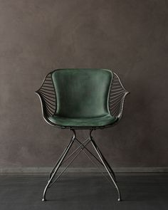 Overgaard & Dyrman - Wire Dining Chair in burned steel finish and British racing. - - Overgaard & Dyrman – Wire Dining Chair in burned steel finish and British racing green leather – www. Furniture Decor, Modern Furniture, Furniture Design, Danish Furniture, Office Furniture, Luxury Furniture, Wire Dining Chairs, Dining Tables, Deco Design