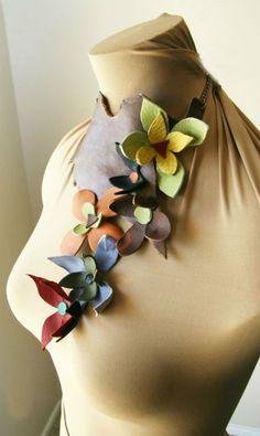 Handmade leather choker with leather flowers..nice!