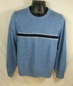 Tommy Hilfiger Blue Striped Sweater Long Sleeve Cotton Sz M #TommyHilfiger…