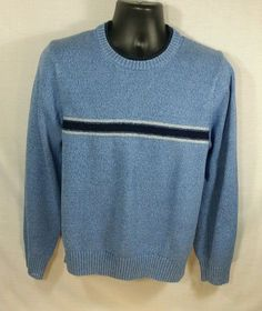 Tommy Hilfiger Blue Striped Sweater Long Sleeve Cotton Sz M #TommyHilfiger…