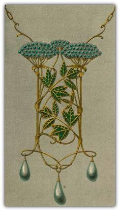 Verneuil, M. P. (Maurice Pillard) -  Pendant Ombelles. Gold, enamel, opals, pears. | © The New York Public Library, 2015