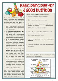BASIC PRINCIPLES FOR A GOOD NUTRITION - English ESL Worksheets for distance learning and physical classrooms