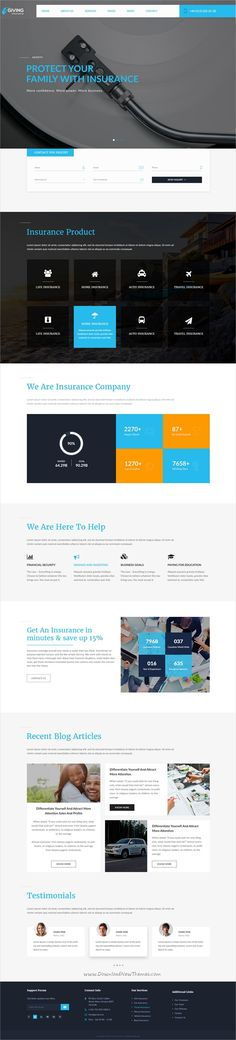 Giving Insurance is a wonderful premium #Photoshop Template suitable for #webdev Businesses, #Finance, Agency, Corporate and Insurance company websites with 3 homepage layouts and 14 organized PSD pages download now➩ https://themeforest.net/item/giving-insurance-psd-template/19246535?ref=Datasata