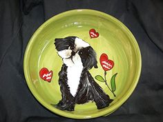 Dog Bowl 8 Dog Bowl for Food or Water Personalized at no Charge Signed by Artist Debby Carman ** For more information, visit image link.