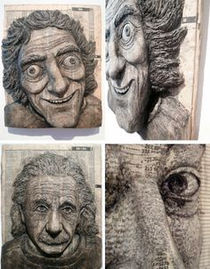 Alex Queral carves faces into books of faceless names, producing three-dimensional portraits that reach deep within discarded phone books.