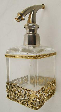 antiguo perfumero frances cristal y bronce
