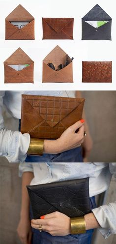 New diy bag leather handbags envelope clutch ideas Do It Yourself Mode, Pochette Diy, Creation Couture, Clutch Bag, Diy Clutch, Diy Leather Envelope Clutch, Diy Leather Clutch, Leather Bags, Leather Handbags