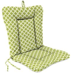 "Universal Chair Cushion - Hockley Pear.Ideal cushion for standard wrought iron patio chairs.Durable spun polyester fabric.Layered polyester fiber fill allows for a more tailored look..Reinforced ties keep cushion in place.Fabric has a soil release agent as well as a UV treatment.Store indoors during inclement weather.Spot clean with a mild soap & water solution; hang dry.Made to order and ships within 10 days.Free Standard Shipping!Dimensions: 38"" L x 21"" W x 3.5"" H. Price $42.99"