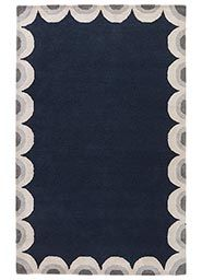Wool and Viscose Material Rugs in Blue color