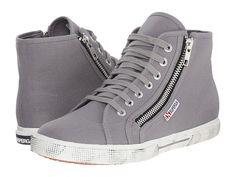 Superga 2224 Cotdu Dual Zip Hi Top Sneaker cotton grey sage sz38 89.00 5/16
