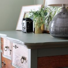 Two-Tone Painted Dresser Makeover in Cypress Vine Green and Wood - Average But Inspired