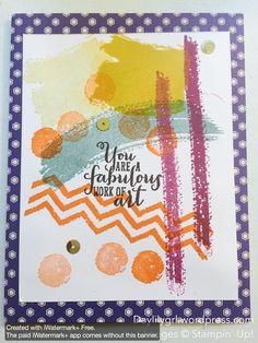 Work of Art stamp set, Stampin' Up! tangelo twist, blackberry bliss, lost lagoon, delightful dijon