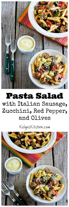 This Pasta Salad with Italian Sausage, Zucchini, Red Pepper, and Olives is perfect for late summer parties and this is favorite recipe in my family. You can use less pasta and more sausage, zucchini, peppers, and olives if you'd like a more carb-conscious version of this salad.  [from http://KalynsKitchen.com]