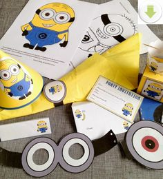 Free Minion Themed Party Printables Minion Birthday banner Cupcake wrappers hats and more