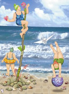 "Refreshing and whimsical!! ""A Beach Scene"" - Original digital art by Orna Ben-Shoshan. Limited edition, signed and numbered print on canvas Stretched over a wooden frame, ready to hang. Available at different sizes: https://www.etsy.com/il-en/listing/193864848/a-beach-scene-limited-edition-giclee"