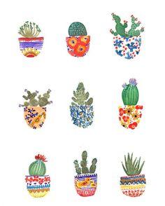 Cactus Pots Midwest désert plantes tirage 8 x par SarahJeanDuggan