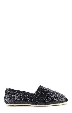 Deb Shops Sequin Canvas Slip On Shoe