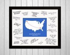 WEDDING GUEST BOOK Alternative  Framed Journey Map by JourneyMaps, $115.00