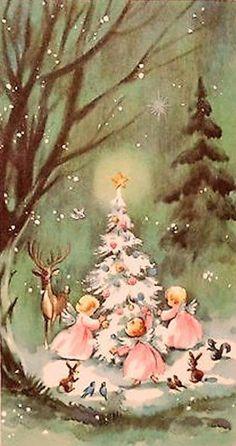 Vintage angels in pink around white tree in forest.