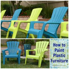 How to Paint Plastic Outdoor Chairs at TinySidekick.com #paintplasticfurniture