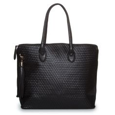 woven black leather