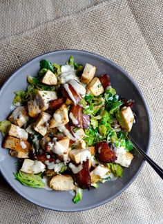 Pin for Later: Ditch the Store-Bought Dressing For 20 Homemade Caesar Recipes Warm Brussels Sprouts and Bacon Caesar Salad Get the recipe: warm brussels sprouts and bacon caesar salad