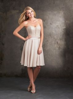 2015 A-line Lace Top Chiffon Short Prom Dress/ Bridesmaid Dress Allure 1424