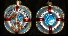 Welcome Aboard! Life Buoy Glass Personalized Christmas Ornament