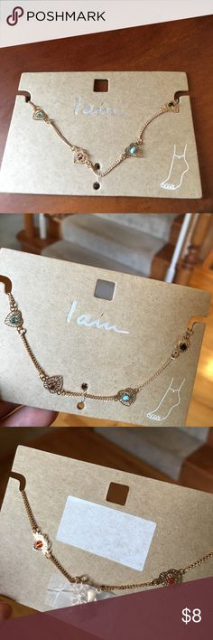 NWT gold anklet with hearts & multi colored stones NWT gold anklet by I am. I am Jewelry