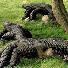 alligator made from tires -