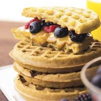 """Easy, Speedy #Breakfasts: #Berry Wafflewich """"Prepare the waffle according to the package directions. Spread peanut butter on the waffle. Cup the waffle in your hand, add berries, then squeeze lightly. Think of it as a berry breakfast taco. And who doesn't want to eat tacos for breakfast? (Women's Health)."""""""