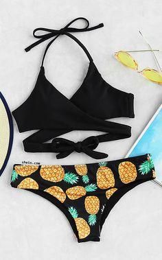Pineapple Print Wrap Bikini Set