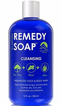 Remedy Antifungal Soap Helps Wash Away Body Odor Athletes Foot Nail Fungus Ringworm Jock Itch Yeast Infections and Skin Irritations Refreshing 100 Natural Foot and Body Wash with Tea Tree Oil Mint  Aloe Therapeutic Cleanser 12 oz ** Check out this great product.