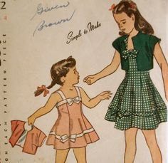 Vintage 1940s Girls Dress Pattern Simplicity 2052 Size 4 WWII Sewing Pattern