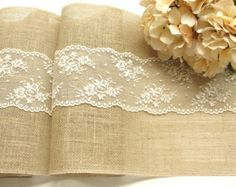 Natural Burlap and lace Table Runner Wedding by HotCocoaDesign