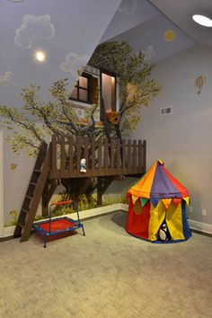 A great use of what would be almost unusable space in the kids room. This is why I love architectural detail, you are only limited by your imagination.