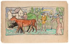 """Guiding the Cows"" by Maurice Brazil Prendergast  ca. 1913-1915 at Williams College Museum of Art"