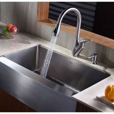 Kraus KHF200-33 Professional Stainless Steel Apron Front Single Bowl Kitchen Sinks |eFaucets.com