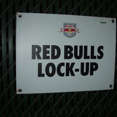 Red Bull Lock Up Sign From Giants Stadium (18x26 1/2x1/8)