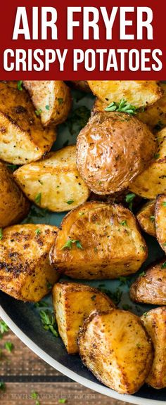 Easy Air Fryer Potatoes Recipe These Crispy Potatoes are made in minutes in the Air Fryer with just a handful of basic ingredients!<br> These Crispy Potatoes are made in minutes in the Air Fryer with just a handful of basic ingredients! Air Fryer Recipes Snacks, Air Fryer Recipes Low Carb, Air Frier Recipes, Air Fryer Dinner Recipes, Air Fryer Rotisserie Recipes, Air Fryer Recipes Potatoes, Air Fryer Recipes Vegetables, Vegetable Recipes, Coconut Shrimp Recipes