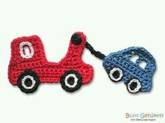 Crocheted application in the form of a tow truck. 16 x 7 cm in size and ideal for applying on pockets, jeans jackets, sweatshirts etc. Crochet is the tow tractor made of cotton Knit Or Crochet, Cute Crochet, Crochet Motif, Crochet For Kids, Vintage Crochet, Crochet Toys, Blanket Crochet, Crochet Applique Patterns Free, Baby Boy Knitting Patterns