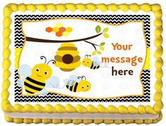 "BUMBLEBEE+Edible+image+cake+topper+1/4+sheet+(10.5""+x+8"")"