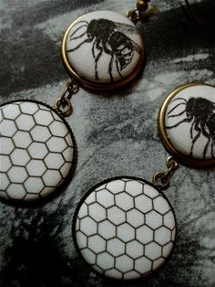Fabric Button Earrings Honeycomb and Bee Drops by ButtonBizarro, $8.00