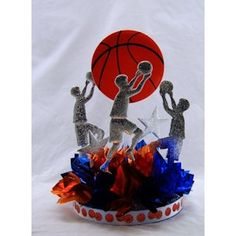 Team Work Centerpiece Kit. Choose your team colors for this easy-to-assemble table decoration. Great for Bar Mitzvah, School Banquet or Sports Theme Party. http://www.awesomeevent.com/basketball-theme-party/centerpieces.aspx