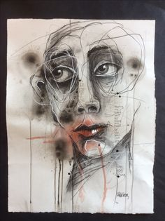 """Deb Weiers - """"Far Too Long"""" 15x20"""" Abstract Faces, Abstract Portrait, Portrait Art, Charcoal Sketch, Charcoal Art, Sketchbook Inspiration, Painting Inspiration, Contour Drawing, Illustration Art"""