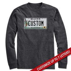 72dddbbe Custom Maine License Plate T-Shirt