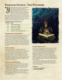 Homebrewing class Warlock Patron: The Watchers, UA Draft : UnearthedArcana Dungeons And Dragons Classes, Dungeons And Dragons 5e, Dungeons And Dragons Characters, Dungeons And Dragons Homebrew, Dnd Characters, Warlock Class, Warlock Dnd, Dungeon Master's Guide, Dnd Classes