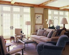 Charlotte Barnes   La Dolce Vita - layout; mix match chairs; console behind sofa; spindle chair - must have!