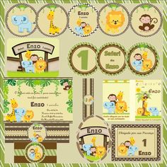 Kit Festa Safari Completo - 10 Itens Jungle Theme Parties, Safari Theme Party, Safari Birthday Party, Jungle Party, Animal Birthday, Party Themes, Jungle Birthday Cakes, Kairo, Baby Stickers