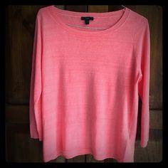 J. Crew sweater Beautiful coral linen sweater. 3/4 length sleeves. J. Crew Sweaters Crew & Scoop Necks